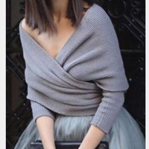 Sweaters - Grey Wrap Sweater